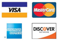 Credit Cards Accepted: Visa - MC - Amex - Discover